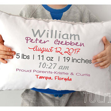 Birth Annoucement pillow, Personalized baby pillow, Custom Birth pillow, Personalized Minky pillow, baby shower gift , Custom pillow ( W1)