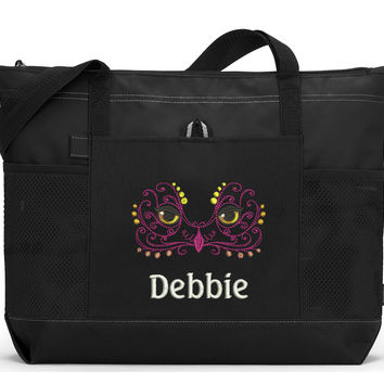 Personalized Owl Face Embroidered Zippered Tote Bag