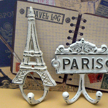 Eiffel Tower Paris Cast Iron Pair of Wall Hooks WHITE French Shabby Style Chic Design Art Decor Paris Jewelry Towel Leash Key Mudroom Hook