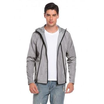 Gray Men Casual Hoodie Long Sleeve Front Zipper Pocket Raincoat