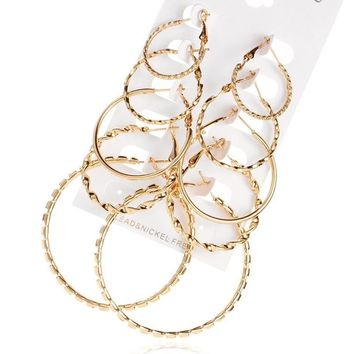ES441 6 PAIRS/LOT Steampunk Gold Color Big Hoop Earrings Simple Style Earring Engagement Gift Jewelry Brinco Argola