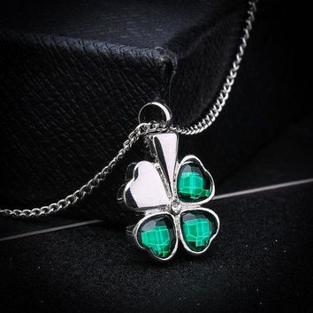 ac spbest Cremation Jewelry Silver Plated  with Rhinestone Clover Shaped Urn Memorial Ash Keepsake Cremation Pendant Necklace for Unisx