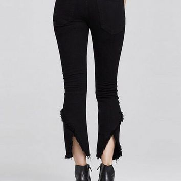 Black High Waist Raw Hem Cropped Flare Jeans