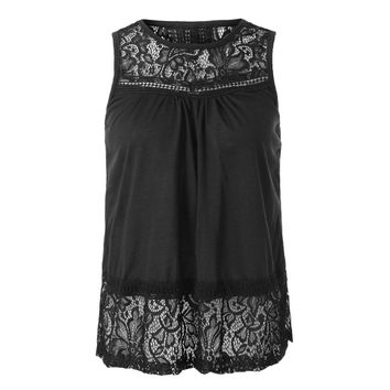 Split Back Lace Chiffon Tank Top
