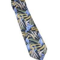 Blue Taupe Brown Green Necktie Silk Abstract Leaves X Long