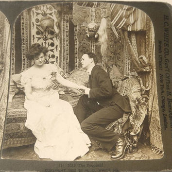 Will You Marry Me? Stereograph Card 1903 Engagement Proposal Antique Sepia Photo Gibson Girl Stereoscopic Stereoview Stereo Card