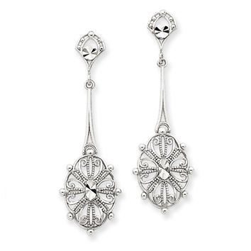 Diamond-cut Filigree Dangle Earrings in 14k White Gold