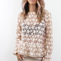 I'm Your Star Taupe Lace Top