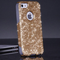 Otterbox iPhone 5 5S Case - Custom Gold/Grey Glitter iPhone 5 5S Otterbox Case - Sparkly Bling Otterbox Cover