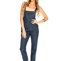 Dark Blue Denim Skinny Overalls