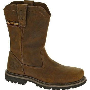 Cat P90439-7M Caterpillar Men Wellston Pull On Steel Toe Work Boot,Dark Brown, 7
