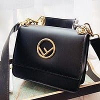 Fendi New fashion leather shoulder bag crossbody bag handbag Black