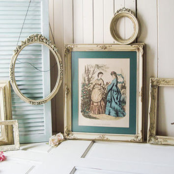 Antique Cream Vintage Ornate Frames, French Cottage Vintage Framed Art Print, Oval Antique Cream Frames, Cream and Dusty Blue, Open Frames