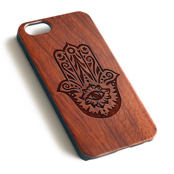 Hamsa hand Don't Trust Anyone Natural wood precise laser engraved iPhone 7 6 6S Plus wood case WA122