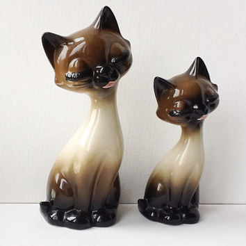 RESERVED! Siamese Cat Figurines, Pair of Large Vintage Long Necked Cat Figures, Kitsch Ceramic Cats, Gift for Couple, 1960s, 00957