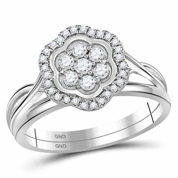 10kt White Gold Womens Round Diamond Flower Cluster Bridal Wedding Engagement Ring Band Set 1/3 Cttw - FREE Shipping (US/CAN)