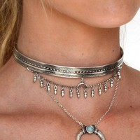 Silver Crescent Horn Layered Choker Necklace