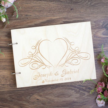 Wedding Guestbook, Rustic Wedding Guestbook, Guest Book Personalized, Heart, Wedding date and names