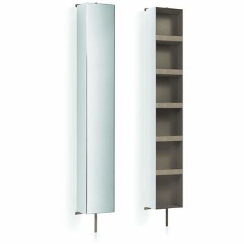 Floor Cabinet LB Linen Tower 360 Degree Rotating with Full-Length Mirror