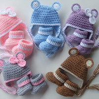 Crochet Baby Hat with Ears and Cozy Warm Booties, You pick color and Size, Ready to Ship