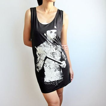Travis Barker Tshirt Drums Blink 182 Shirt Rock Black Tunic Tank Top Women Singlet Top Dress Size M