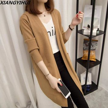 2018 Women Long Cardigans Autumn Winter Open Stitch Poncho Knitting Sweater female Oversized Cardigan Jacket Coat trench coat