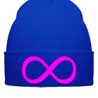infinity Embroidery - Beanie Cuffed Knit Cap
