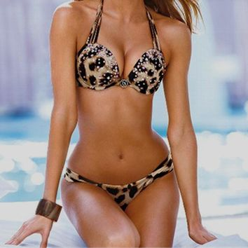 2017 New Bikini Sexy Leopard Print Swimwear Push Up Halter Padded Bra Brazilian Biquini Bikini Set Woman Diamond Swimming Wear