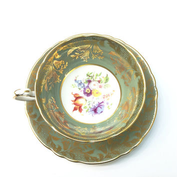 Paragon by Appointment Tea Cup, Sage Green, Ornate Gold Work, Pedestal Base, Floral Bouquet, Bridal Showers, Wedding Gift, 1950s