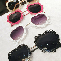 Kawaii Sweet Lolita Fairy Kei Gothic Lolita Lace Heart Frame Sunglasses from Kawaii Machine