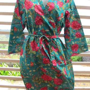 For the lovely Bride,Floral Kimono Crossover patterned Robe Wrap - Bridesmaids gift, getting ready robes, Bridal shower favors, baby shower