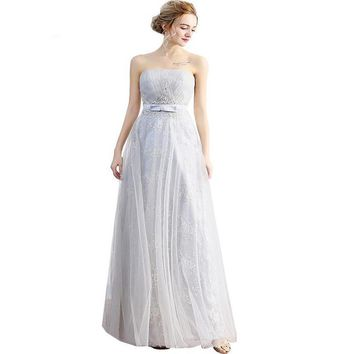 Grey Lace Bridesmaid Dresses Strapless Sleeveless Embroidery Slim Sexy Floor-length Party Gowns Bride Formal Dresses
