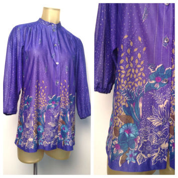 Sheer 70s Blouse Blue Purple Floral High Collar Button Down Shirt Tapered Cropped Sleeve Teal Gold Flowers Print Dolman Top Long Blouse S