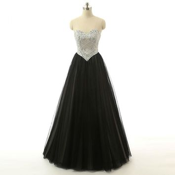 Fashion Sexy Tulle Sweetheart Neck Beading Formal Long Evening Dresses A Line Sleeveless Floor Length Evening Gowns