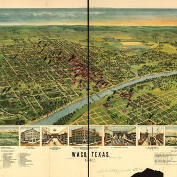 "Waco Texas c.1872  ""Bird's Eye View"" Map City View Aerial- Beautiful Print=(Antique,Vintage,Old) =Map is Perfect for Framing!"