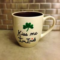 Kiss Me I'm Irish Shamrock Mug - Great St. Patrick's Day Gift - Large 15 ounce
