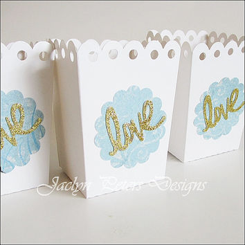 Wedding Favor Box, Popcorn Holder, Aqua Blue, Gold Glitter Love, Bridal Shower, Dessert Buffet Box, Candy Holder, Valentine Party, Set Of 12