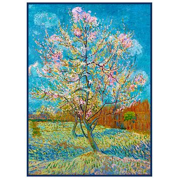 Pink Peach Tree by Impressionist Artist Vincent Van Gogh Counted Cross Stitch Pattern