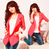 Hot Womens Sexy Vogue Suit One-button Lapel Tops Blazer Jacket 3/4 sleeve