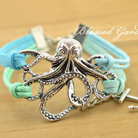 anchor bracelet,octopus bracelet,mint bracelet, teal bracelet, octopus, baby blue bracelet,anchor, friendship bracelet,blessed garden