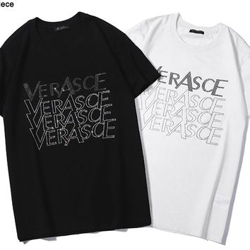 Versace hot seller of fashion couples hot diamond LOGO casual t-shirts with short sleeves