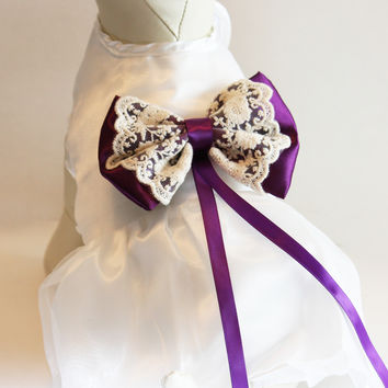 Purple Dog dress, ring bearer, pet Wedding accessory, White with Purple Bow, Clothing