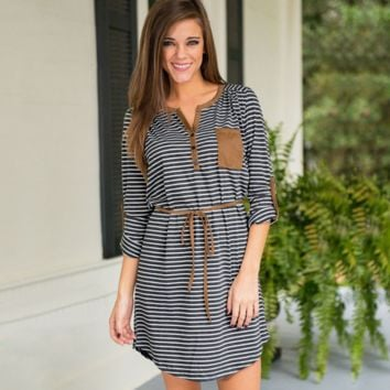 Womens Long Sleeve Striped Dress with Belt