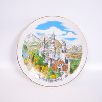 Vintage Neuschwanstein Castle Plate West Germany Reutter Porzellan Collector Plate Wall Hanging Hand Painted