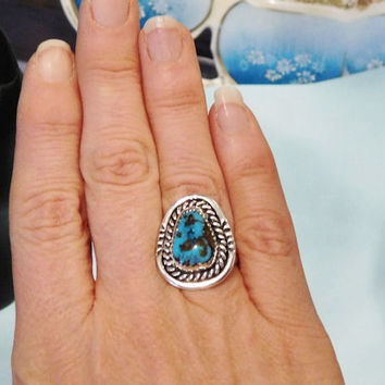 Morenci Turquoise Ring Vintage Sterling Silver Ring Native American Southwestern Turquoise Vintage Jewelry Artisan Hand Crafted 1970s