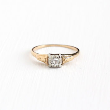 Sale - Vintage 14k - 18k Yellow & White Gold Old Mine Cut 1/10 Carat Diamond Solitaire Ring - Art Deco 1930s Fine Engagement Bridal Jewelry