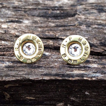 9mm Hand Polished Brass Bullet Earrings with Clear Swarovski Crystal - April Birthstone