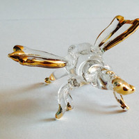 Figurine Animal Miniature Hand Blown Glass Dragonfly.