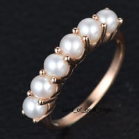 6-Stone 4mm Round Pearl Birthstone Wedding Band in 14K Rose Gold, Anniversary Ring