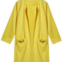 Yellow Lapel Trench Coat